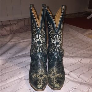 Roper Teal Cross Snip Toe Cowgirl Boots
